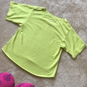Disney Tops - M I C K E Y  Mickey Lime Green Cropped Tee